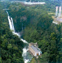Aerial photo of the Maria Cristina Falls and Agus VI Hydroelectric Power Plant in Iligan City