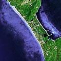 Satellite image of the White Beach in Boracay.