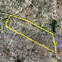 Satellite image of the Historic Filipinotown in Los Angeles, with the district marked by a yellow line.