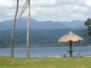 Photo of the Subic Bay and surrounding mountains from the Grande Island Resort.