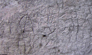 Close-up photo of some of the Angono Petroglyphs.