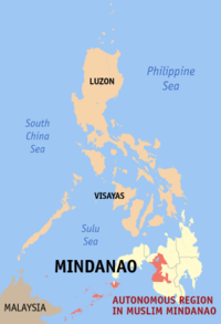 Map showing the location of the ARMM region within the Philippines.