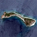 Satellite image of Capones Island off the mainland of San Antonio, Zambales.