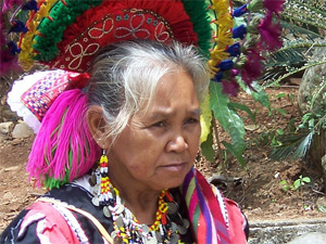A Mindanao tribe elder woman showcasing their culture in the Gardens of Malasag.