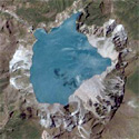 Satellite image of Mount Pinatubo's crater in Central Luzon.