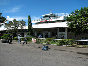 Photo of the entrance to the Daniel Z. Romualdez Airport.