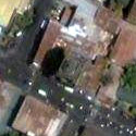 Satellite image of the Sinking Bell Tower of Laoag City.
