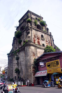 Street-level photo of the Sinking Bell Tower of Laoag.