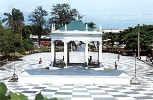 A photo of the gazebo at the center of the Bacolod Public Plaza.