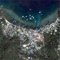 Satellite image of Sabang Beach in Puerto Galera, Oriental Mindoro.