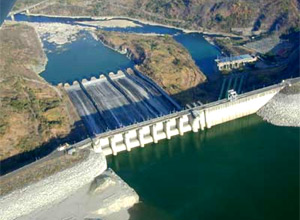 Aerial shot of Magat Dam.