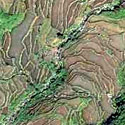 Satellite image of part of the Nagacadan Rice Terraces in Kiangan, Ifugao.
