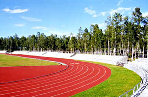View of the track and field of the Panaad Park and Stadium.