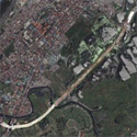 Satellite image of the C-5 Road south extension in Las Piñas City