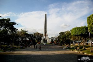 Ground-level view of the tower with Pres. Magsaysay's statue