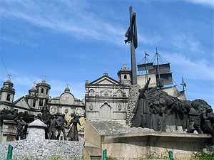 Photo of the Heritage of Cebu Monument showing various sculptures