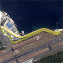Satellite image of the Subic International Raceway with the track highlighted in yellow
