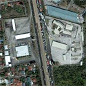 Satellite image of the Petron and Caltex stations facing each other along SLEX, San Pedro