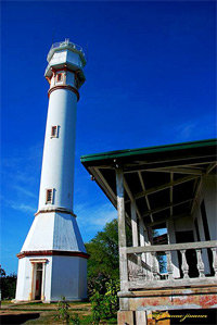 Ground-level shot of the Cape Bolinao lighthouse