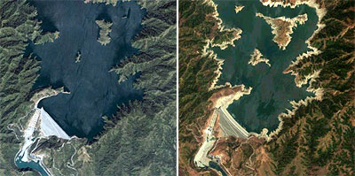 Comparison of San Roque Dam during El Niño and during full season