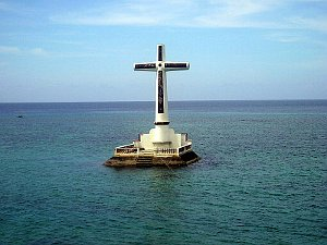 Photo of the cross marking the Sunken Cemetery