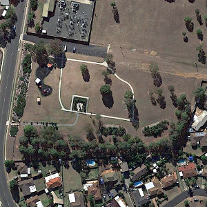 Satellite image of Rizal Park in Rosemeadow, New South Wales, Australia.