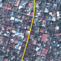 Satellite view image of Vigan City, Ilocos Sur, with Calle Crisologo highlighted.