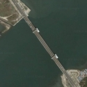 Satellite view image of Marcelo Fernan Bridge between Mandaue City and Lapu-Lapu City in Cebu.