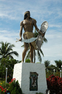Ground-level photograph shot of the statue of Lapu-Lapu at his shrine on Mactan Island.
